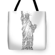 New York Lady Liberty Words Tote Bag