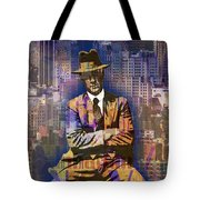 New York Man Seated City Background 1 Tote Bag