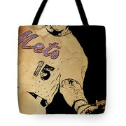 New York Mets 15 Red And Blue Vintage Cards On Brown Background Tote Bag