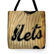 New York Mets 21 Red And Blue Vintage Cards On Brown Background Tote Bag