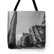 New York Ny Flatiron Building Fifth Avenue Black And White Tote Bag