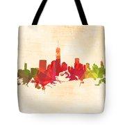 New York Orange Skyline Tote Bag