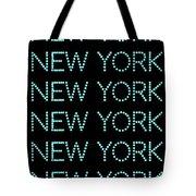 New York - Pale Blue On Black Background Tote Bag