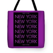 New York - Pink On Black Background Tote Bag