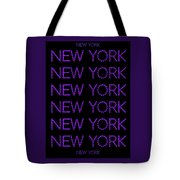New York - Purple On Black Background Tote Bag