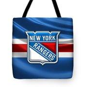 New York Rangers - 3d Badge Over Flag Tote Bag