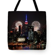 New York Skyline And Fireworks Tote Bag
