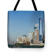New York Skyline And Sailboat Tote Bag