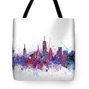 New York Skyline Color Splatter Tote Bag