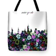 New York Skyline Floral 3 Tote Bag