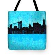 New York Skyline Silhouette Cyan - Da Tote Bag