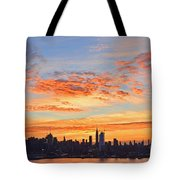 New York Skyline Sunrise Clouds And Color Tote Bag