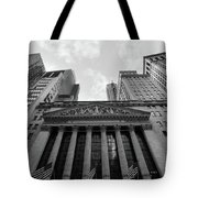 New York Stock Exchange Black And White Tote Bag