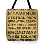 New York Train Stations Retro Vintage - Black On Yellow Tote Bag