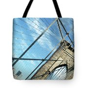 New York Usa  Brooklyn Bridge Towards Manhattan. Tote Bag