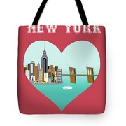 New York Vertical Skyline - Heart Tote Bag