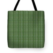 New York - White On Green Background Tote Bag