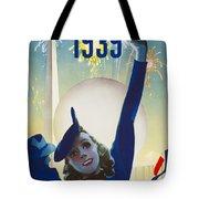 New York, World Fair, Firework, Woman In Blue Dress Tote Bag