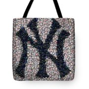 New York Yankees Bottle Cap Mosaic Tote Bag by Paul Van Scott