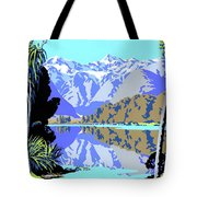 New Zealand Lake Matheson Vintage Travel Poster Tote Bag