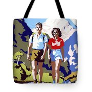 New Zealand Vintage Travel Poster Restored Tote Bag