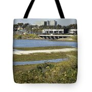 Newport Estuary And Nearby Businesses Tote Bag