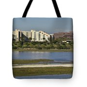 Newport Estuary Looking Across At Major Hotel And Businesses Tote Bag