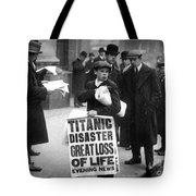 Newsboy Ned Parfett Announcing The Sinking Of The Titanic Tote Bag by English School