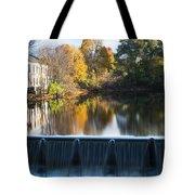 Newton Upper Falls Autumn Waterfall Reflection Tote Bag