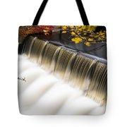 Newton Upper Falls Autumn Waterfall Tote Bag