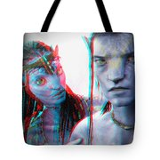 Neytiri And Jake Sully - Use Red-cyan 3d Glasses Tote Bag