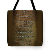Nfl Championship Game 1958 Tote Bag