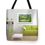 Home Decor With Tropical Palms Digital Painting Tote Bag