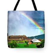 Niagara Falls And Welcome Centre With Rainbow Tote Bag