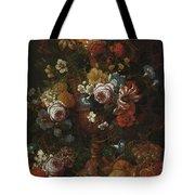 Nicolaes Van Veerendael Antwerp 1640 - 1691 Still Life Of Roses, Carnations And Other Flowers Tote Bag