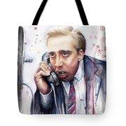 Nicolas Cage A Vampire's Kiss Watercolor Art Tote Bag by Olga Shvartsur