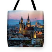 Night Aerial View Of Prague Old Town Tote Bag