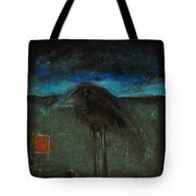 Night Bird With Red Square Tote Bag