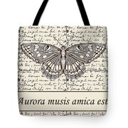 Night Butterfly On Old Letter Tote Bag