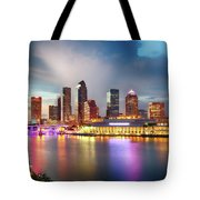Night Downtown River Tote Bag