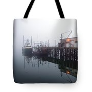 Night Fog Along The Dock Tote Bag
