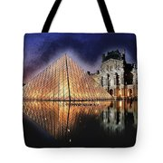 Night Glow Of The Louvre Museum In Paris Tote Bag
