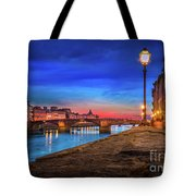 Night In Florence Italy Tote Bag