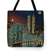 Night In Manhattan Tote Bag by Milagros Palmieri