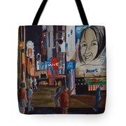 Night In Time Square Tote Bag