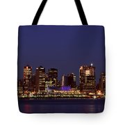 Night Lights Of Downtown Vancouver Tote Bag