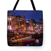 Night Lights On The Amsterdam Canals 7. Holland Tote Bag