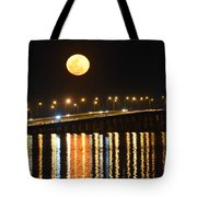 Multi Reflective Bridge And Moon Lights Tote Bag