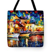 Night Riverfront - Palette Knife Oil Painting On Canvas By Leonid Afremov Tote Bag