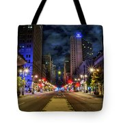 Night Shot Of Broad Street - Philadelphia Tote Bag